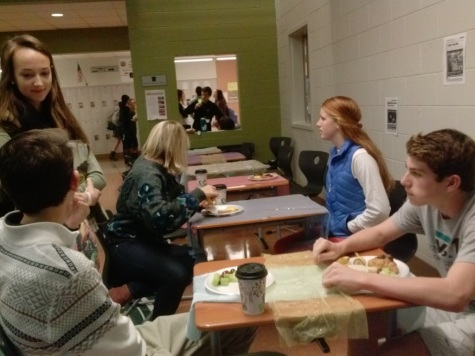 Students dine in the café.