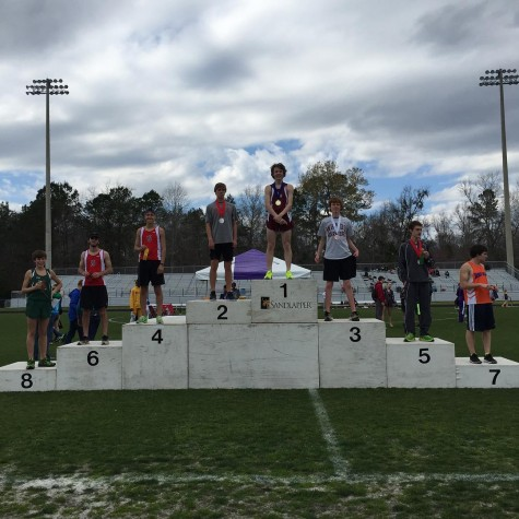 Colin atop the podium (photo from