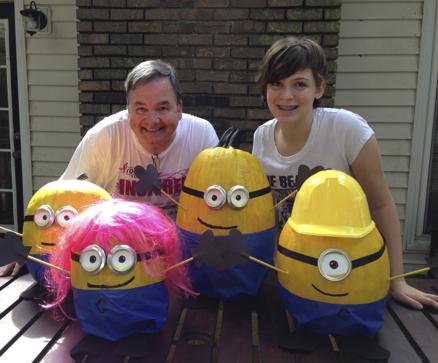 Chloe & Mr Murphy with their award-winning pumpkin minions