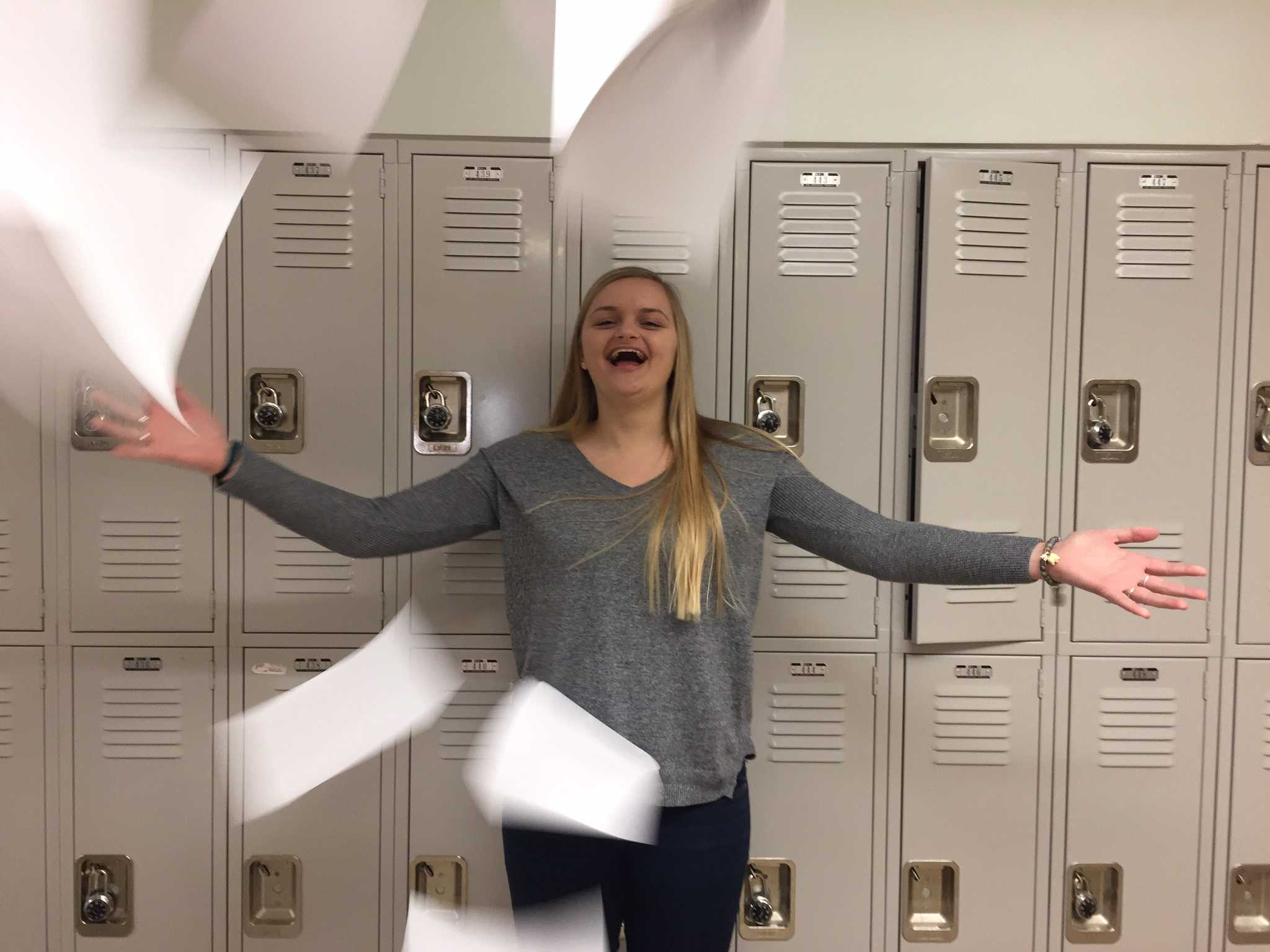 Senior Maryanna Reed rejoices at the completion of her thesis