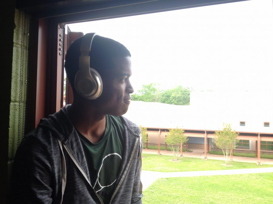 Senior William Pugh jams out to his favorite song, Love Yourself by Justin Bieber