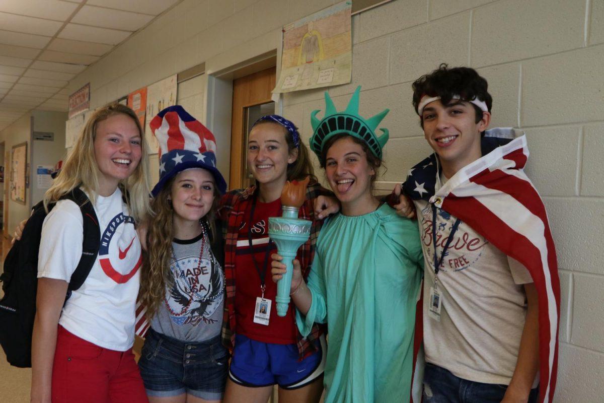Mondays theme for spirit week was America.