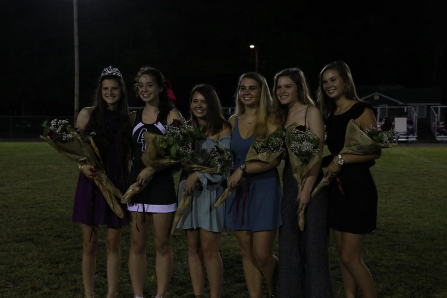 During halftime at the football game, all of the nominees for homecoming queen were acknowledged on the field.