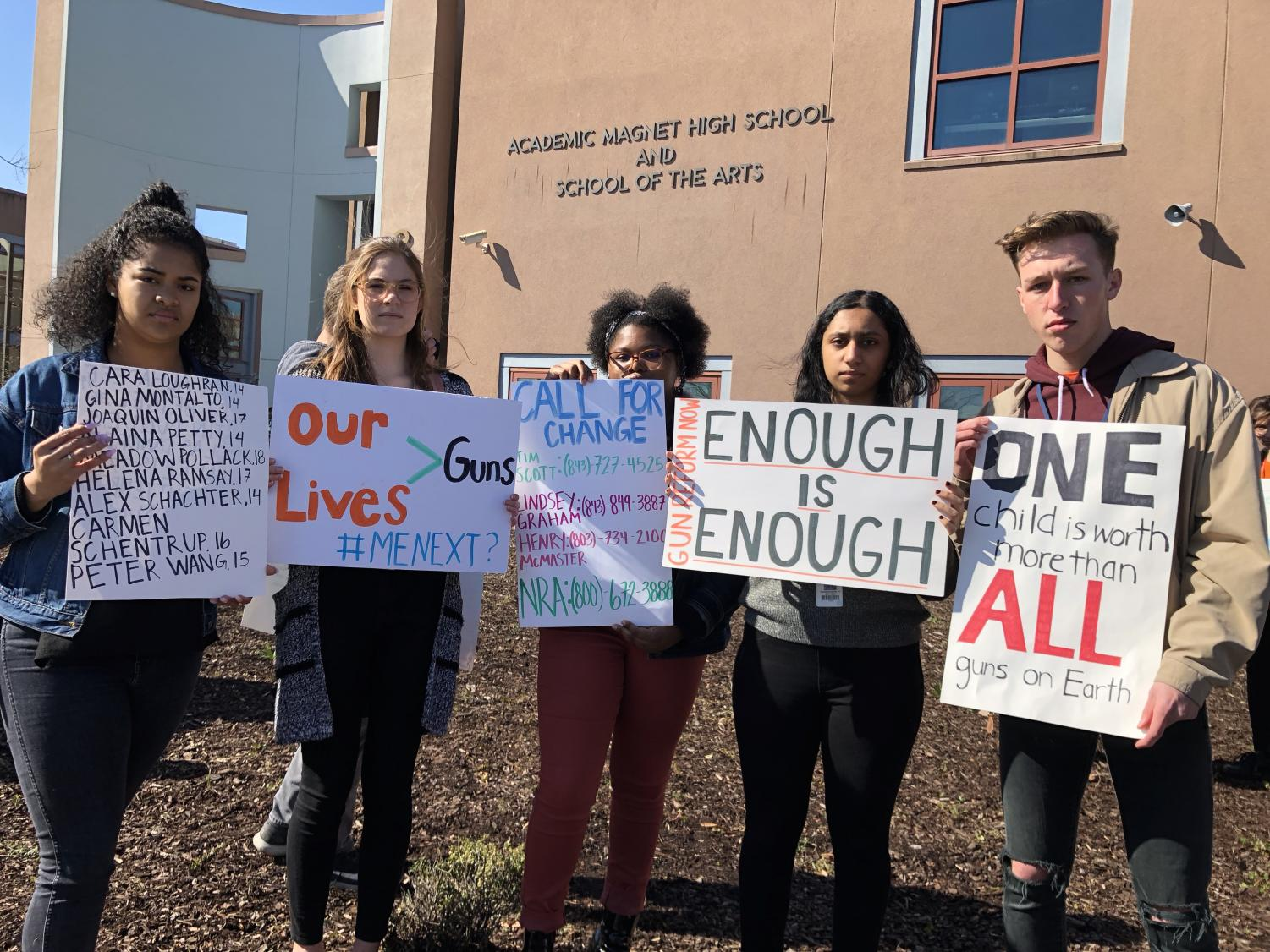 (from left to right) Semaj Fielding, Isabel Root, Kennedy Bennett, Samantha Devapiriam, and Keagan Larkins at the walkout on March 14th