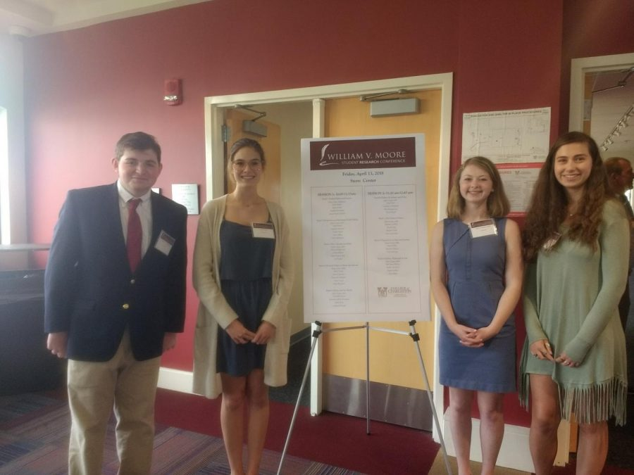 Zachary Kronsberg, Peyton Funkhouser, Mary Frances Kline, and Isabel Root at the Moore Conference.
