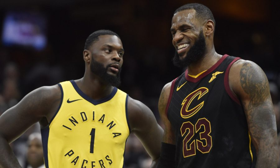 LeBron+James+of+the+Cleveland+Cavaliers+and+Lance+Stevenson+of+the+Indiana+Pacers