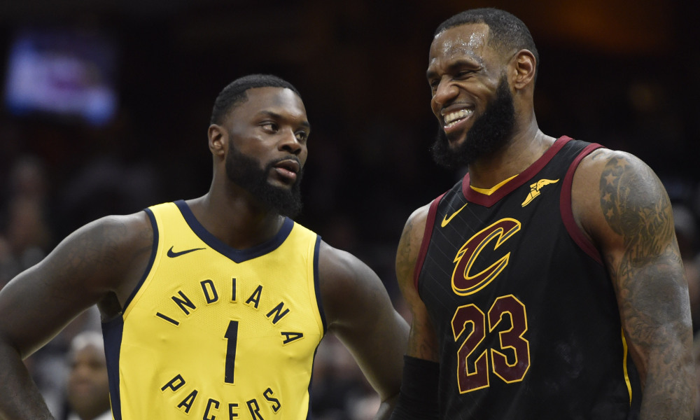 LeBron James of the Cleveland Cavaliers and Lance Stevenson of the Indiana Pacers