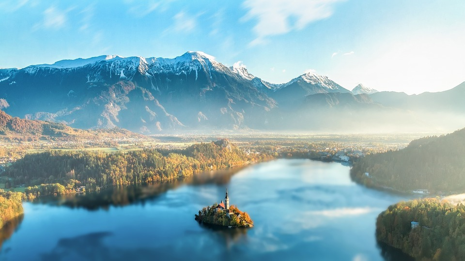 Stunning view over Lake Bled, Slovenia from Bled Castle