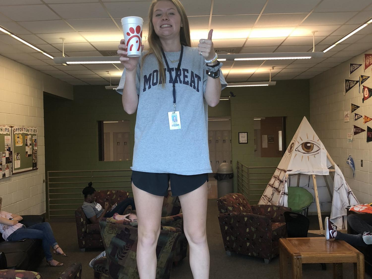 Anne Claire Purcell with her beloved Chick fil a