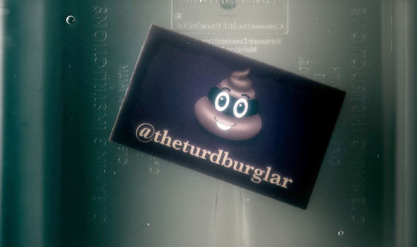 The calling card of The Turd Burglar