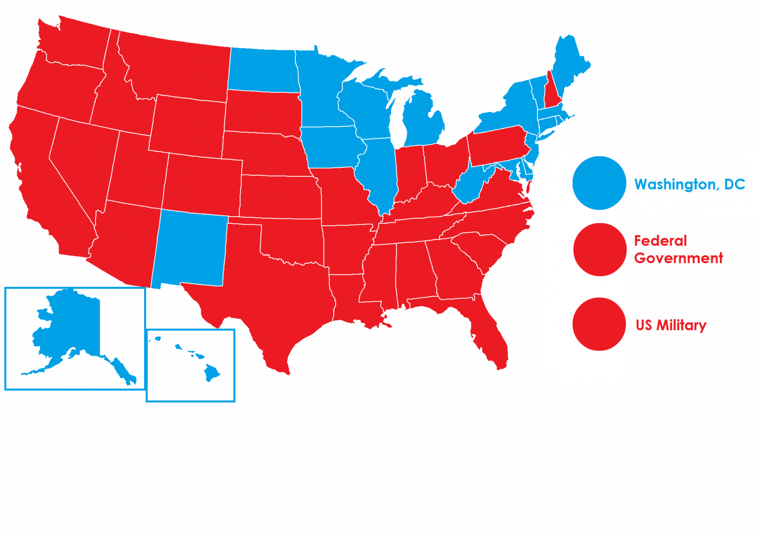 States which have outlawed capital punishment in blue, all rest in red