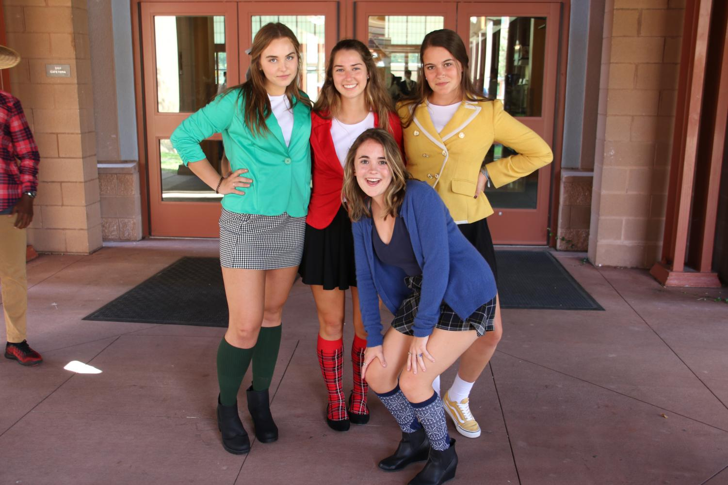 Students+pose+in+their+Heathers+outfits.