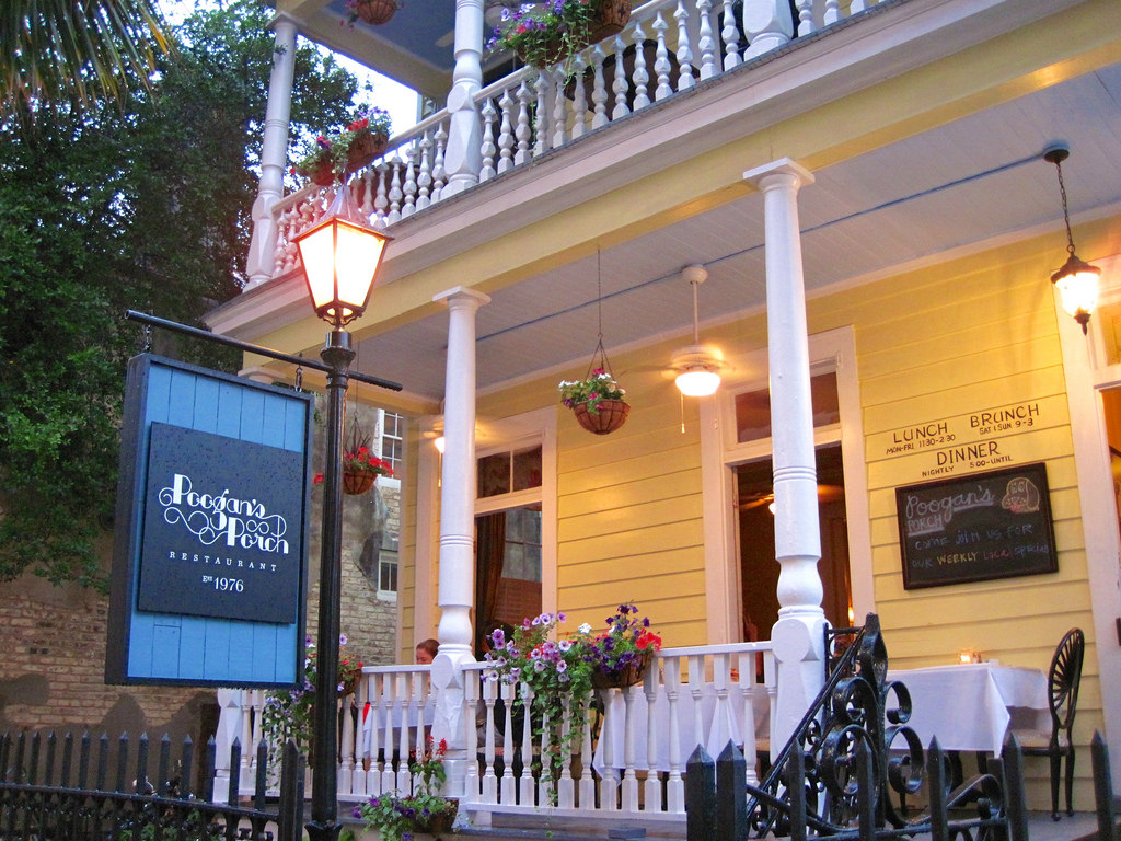 Pictured is Poogan's Porch, the restaurant home to the ghosts of Poogan and Zoe.