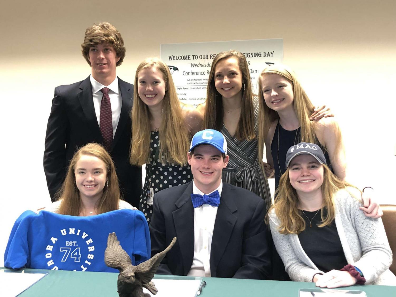 The Magnet students in the District Headquarters Building downtown on Signing Day. (Not pictured: Colin Baker)