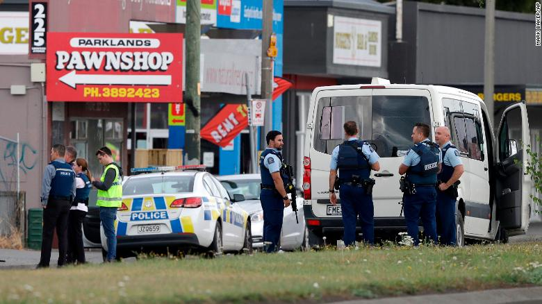 The+Christchurch+shooting+in+New+Zealand+took+place+at+a+peaceful+mosque.+Police+stood+outside+in+the+aftermath+of+last+weekend+%28AP+Photo%2FMark+Baker%29.