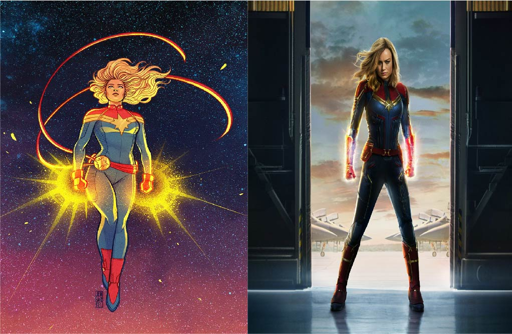 Captain Marvel from one of the many comic illustrations of her beside Brie Larson's Captain Marvel from the film.