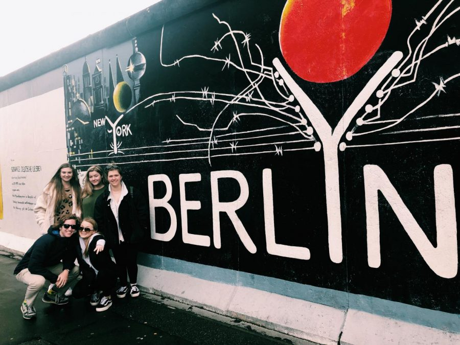 Magnet+seniors+next+to+a+piece+of+the+Berlin+Wall.++Also+Caroline+Hyde.