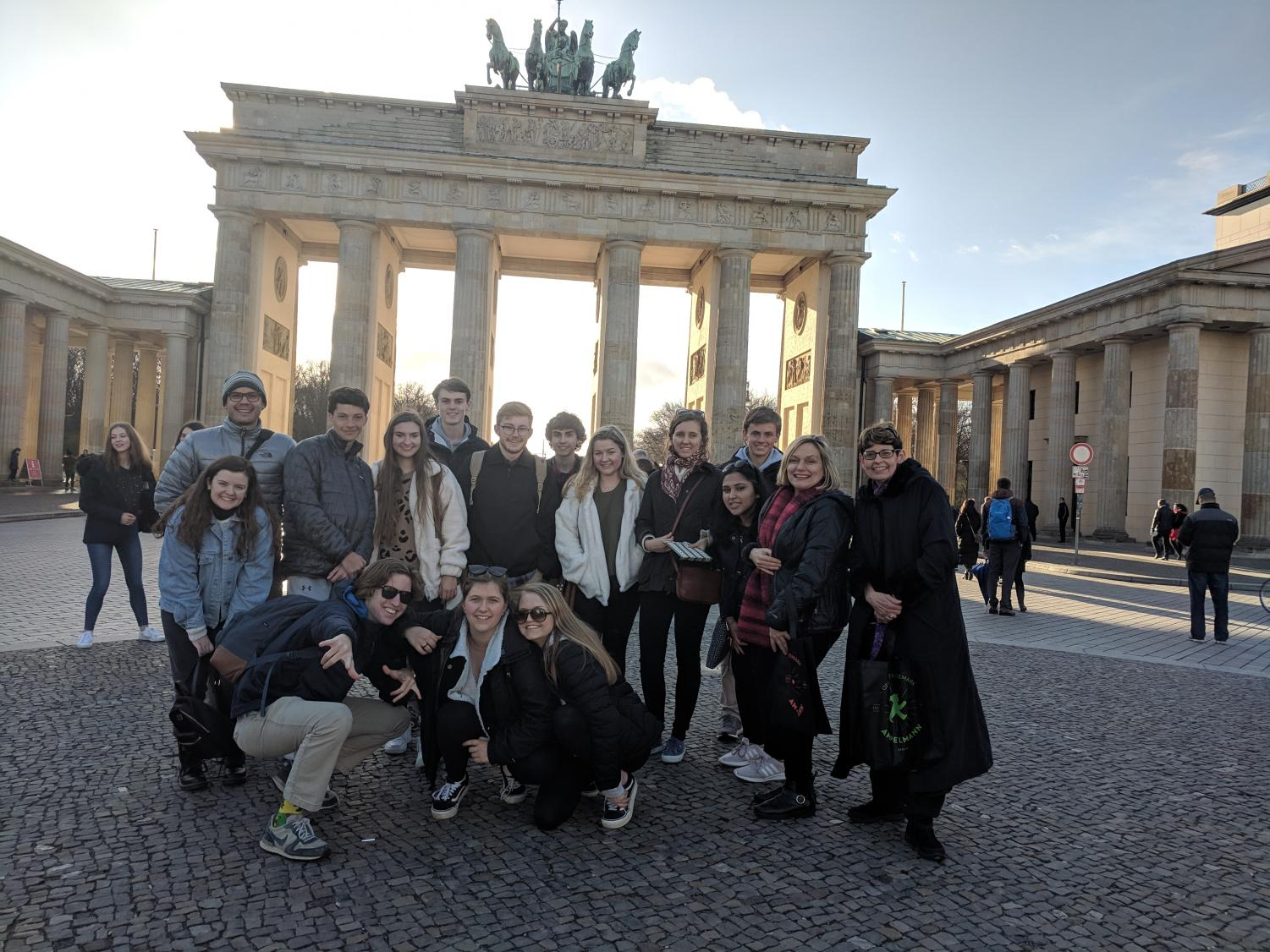 All of the AMHS students on the trip at the Brandenburg Gate in Berlin.