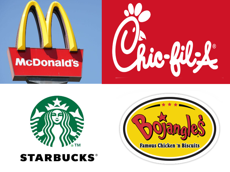 Four restaurants have been selected for this review.  Credit (clockwise from top left): Fox News, RiseUp4Christ, World Branding Awards, Pinterest