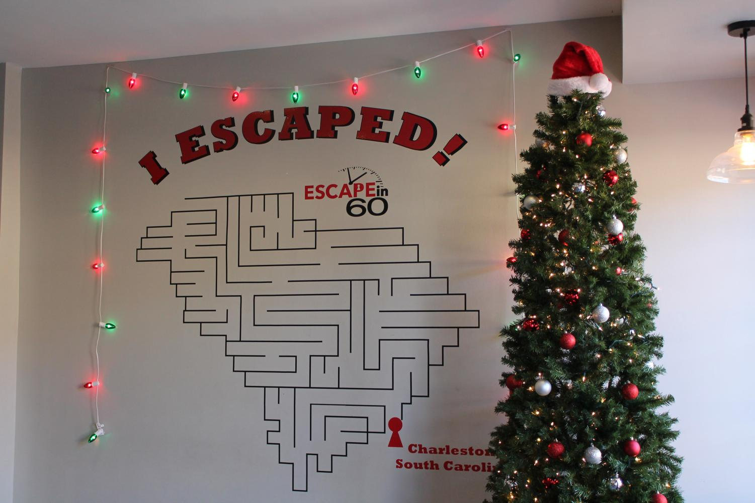 This is a picture of their picture wall in the foyer of Escape in 60.