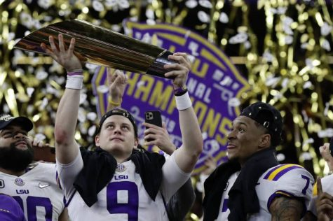 the LSU Tigers celebrate their National Championship (photo courtesy of the Associated Press)