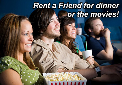 An advertisement for Rent-a-Friend, where you can register and earn up to $50 per hour.