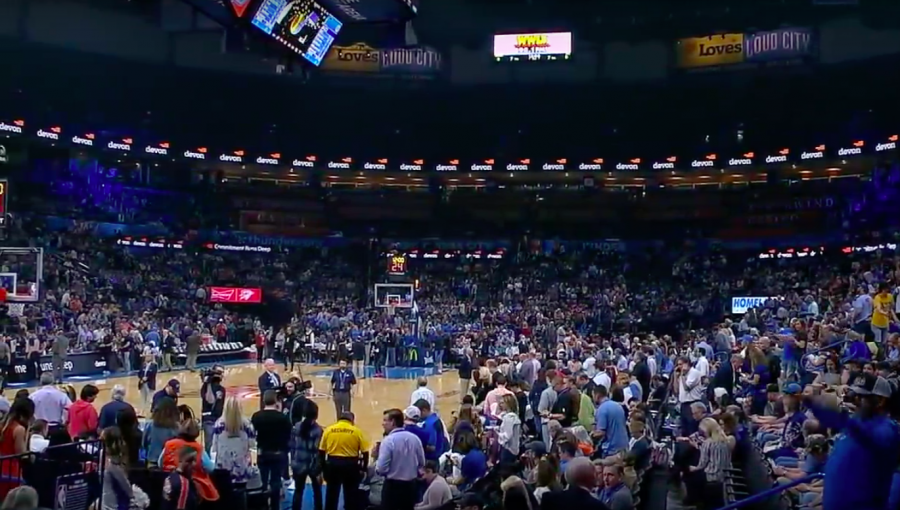 The+scene+just+before+the+Thunder+vs.+Jazz+game+was+postponed+on+3%2F11